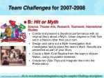 team challenges for 2007 200811