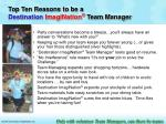 top ten reasons to be a destination imagination team manager