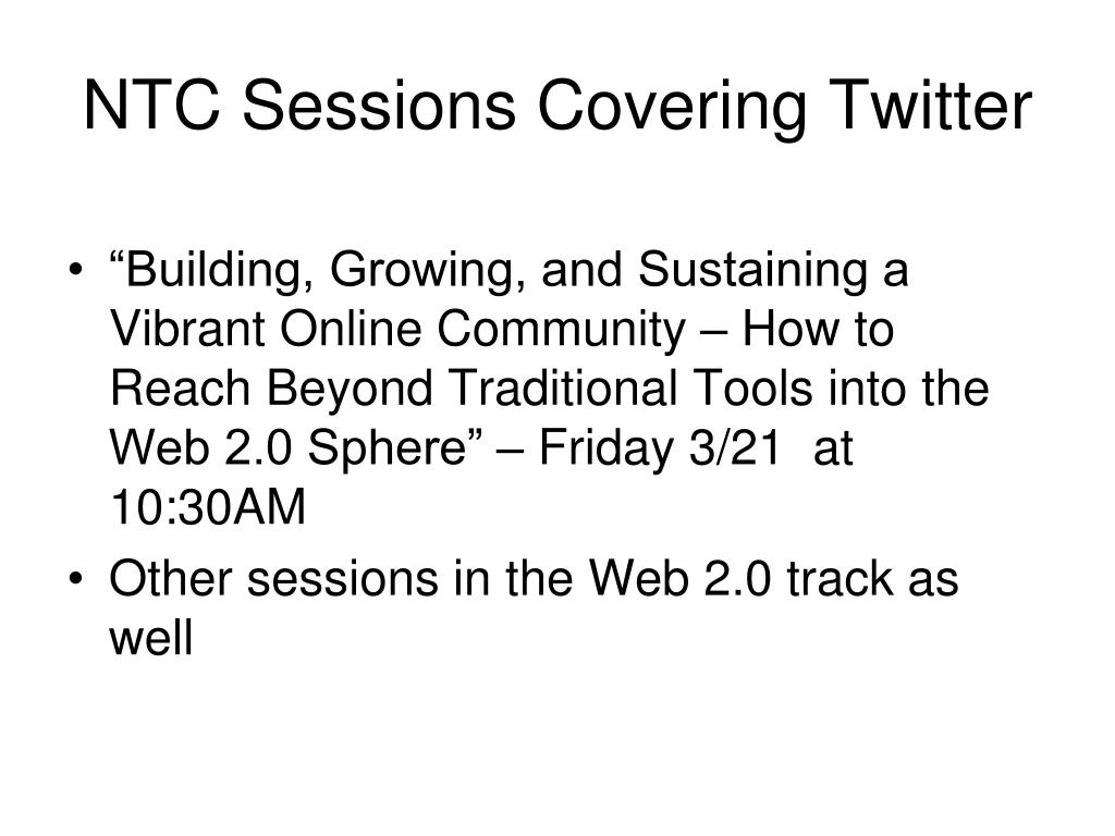 NTC Sessions Covering Twitter