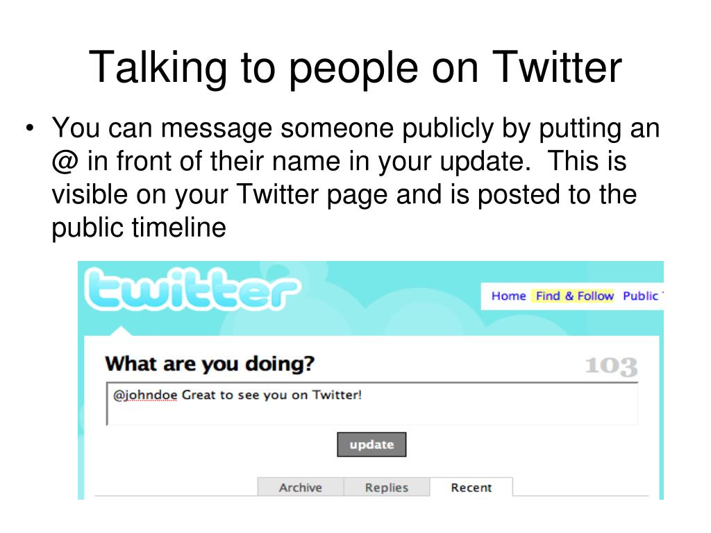 Talking to people on Twitter