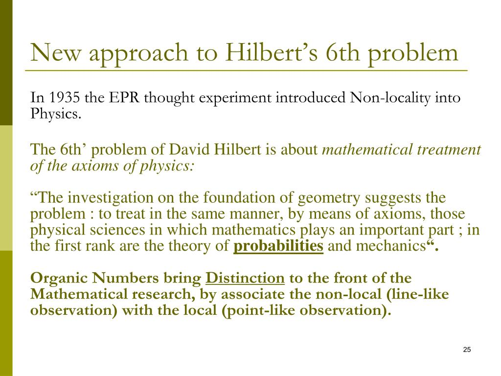 New approach to Hilbert's 6th problem