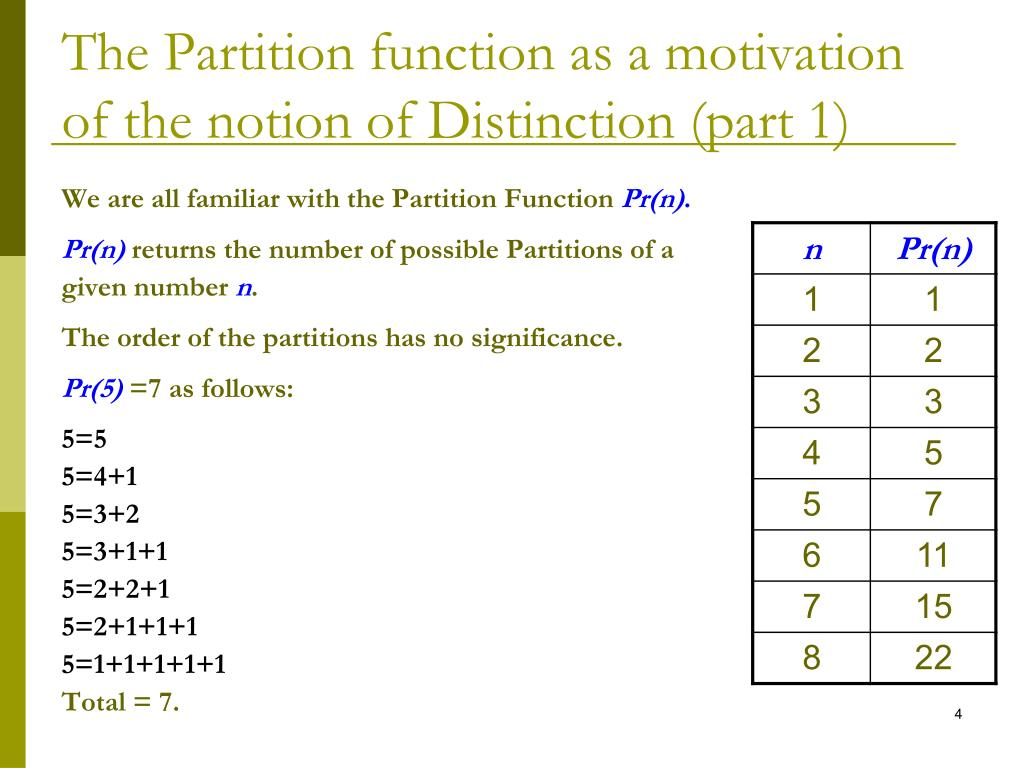 The Partition function as a motivation of the notion of Distinction (part 1)