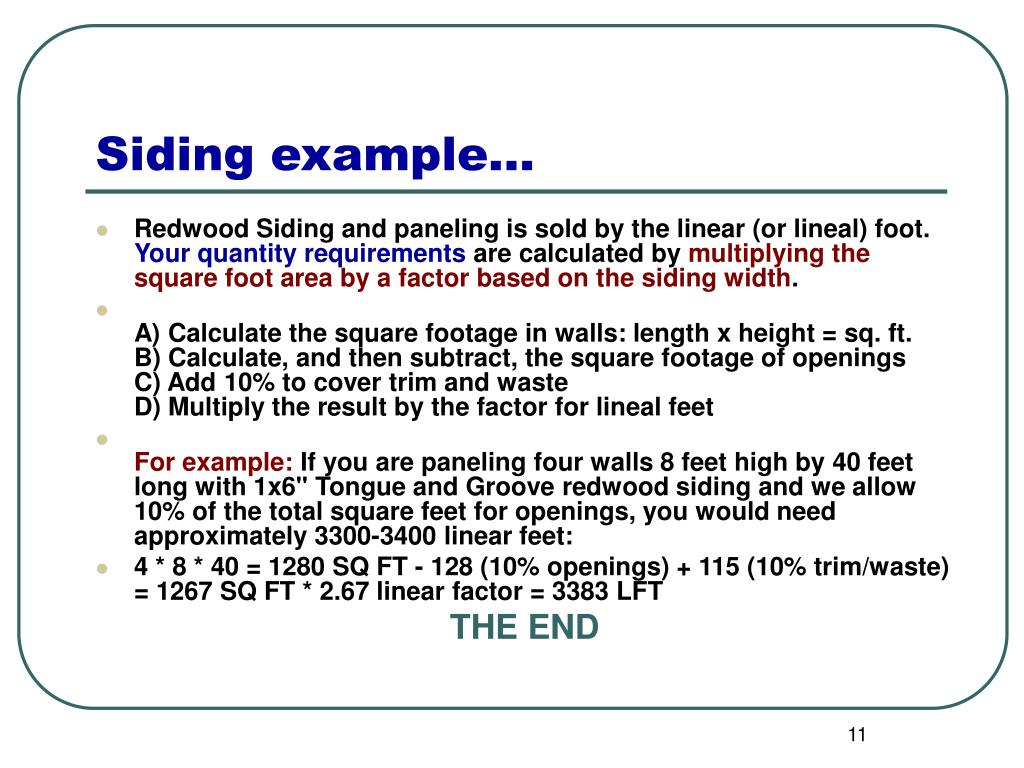 Ppt calculating board feet linear feet square feet for How big is a square of siding
