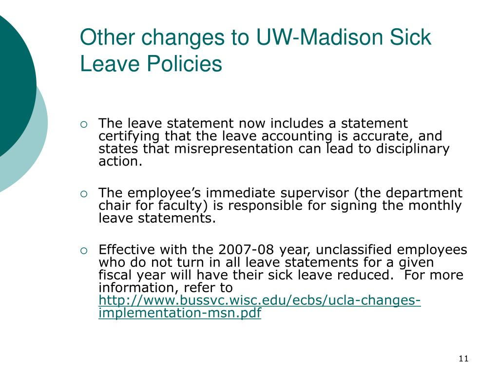 Other changes to UW-Madison Sick Leave Policies