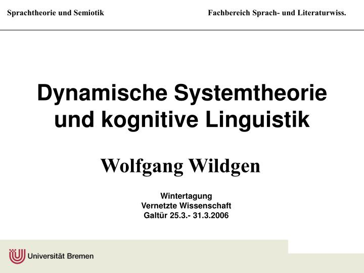 Dynamische systemtheorie und kognitive linguistik