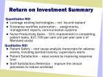 return on investment summary