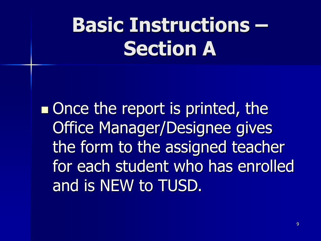 Basic Instructions – Section A