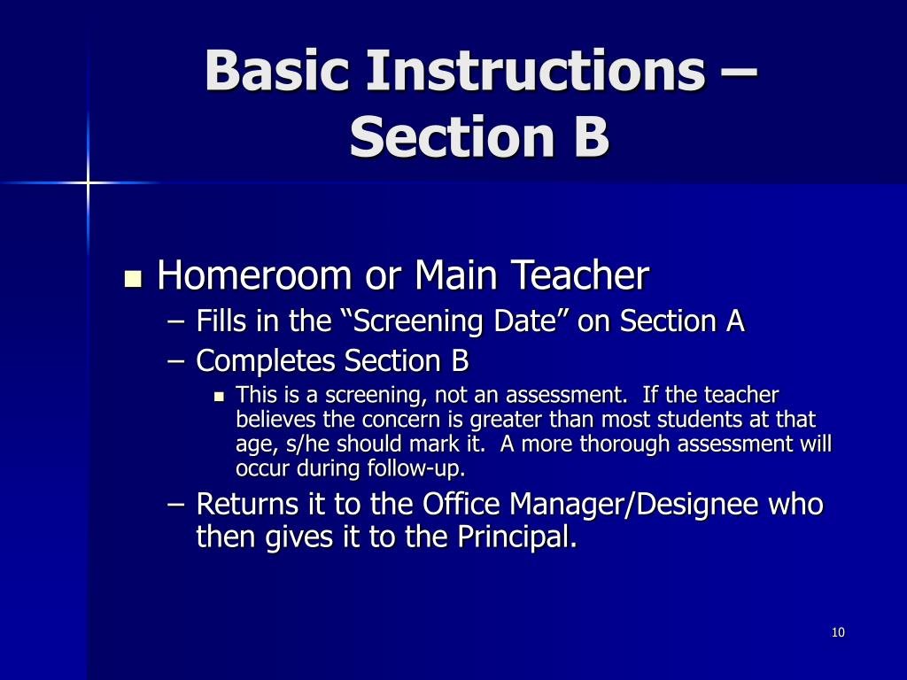 Basic Instructions – Section B