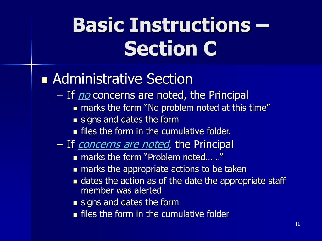 Basic Instructions – Section C