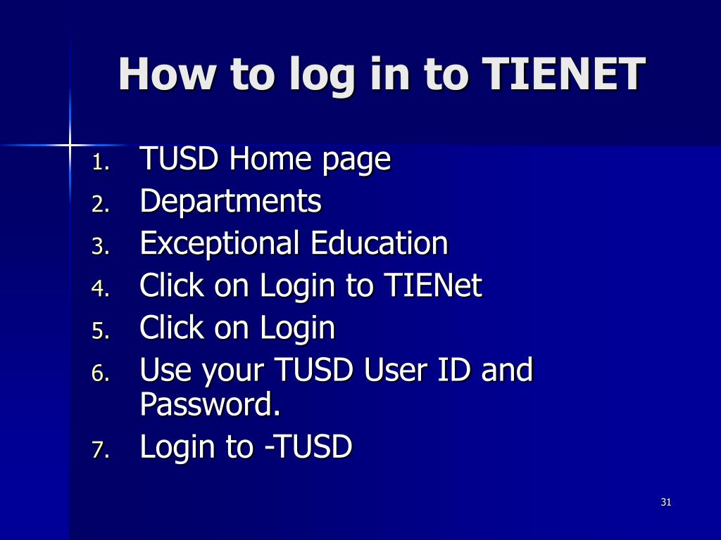 How to log in to TIENET