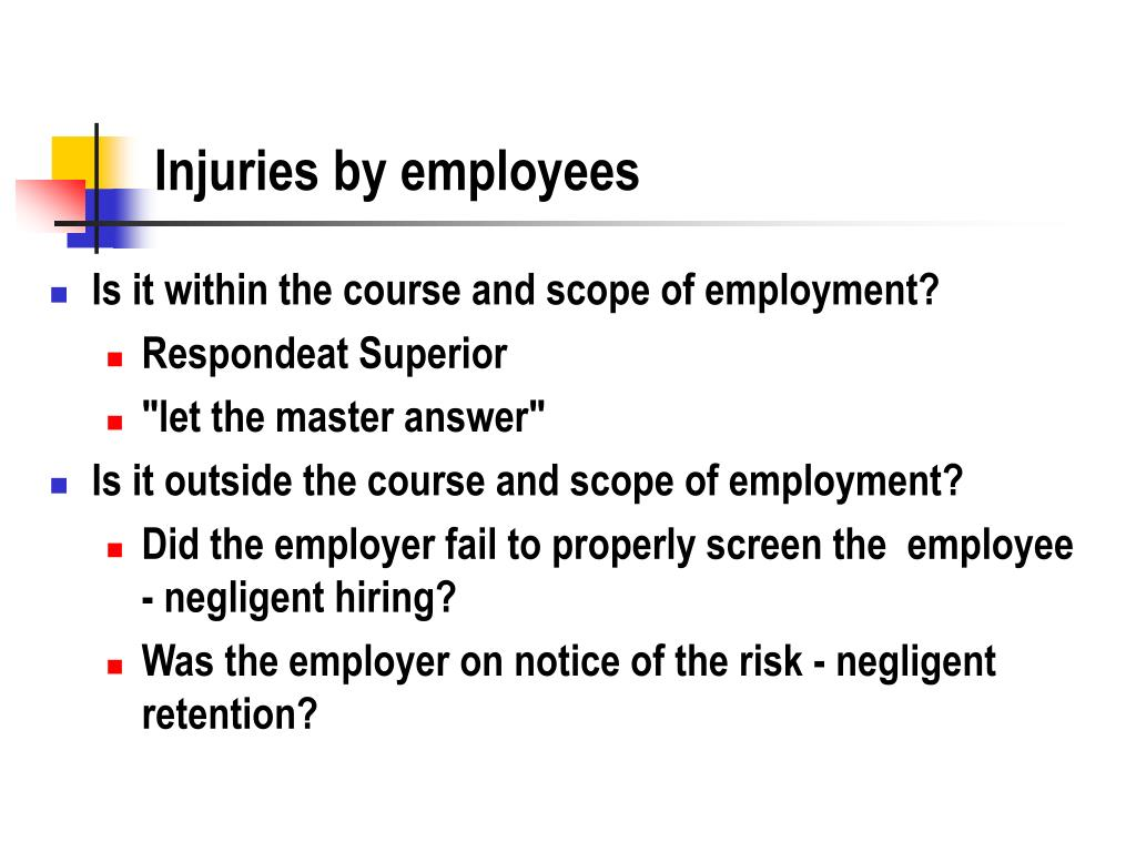 Injuries by employees