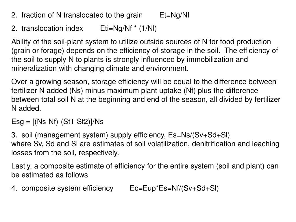 2.  fraction of N translocated to the grain	Et=Ng/Nf