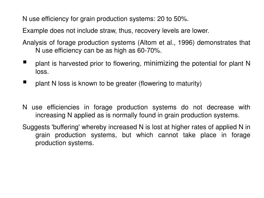 N use efficiency for grain production systems: 20 to 50%.
