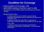 condition for coverage