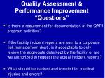 quality assessment performance improvement questions