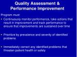 quality assessment performance improvement