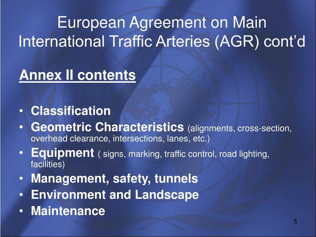 European Agreement on Main International Traffic Arteries (AGR) cont'd