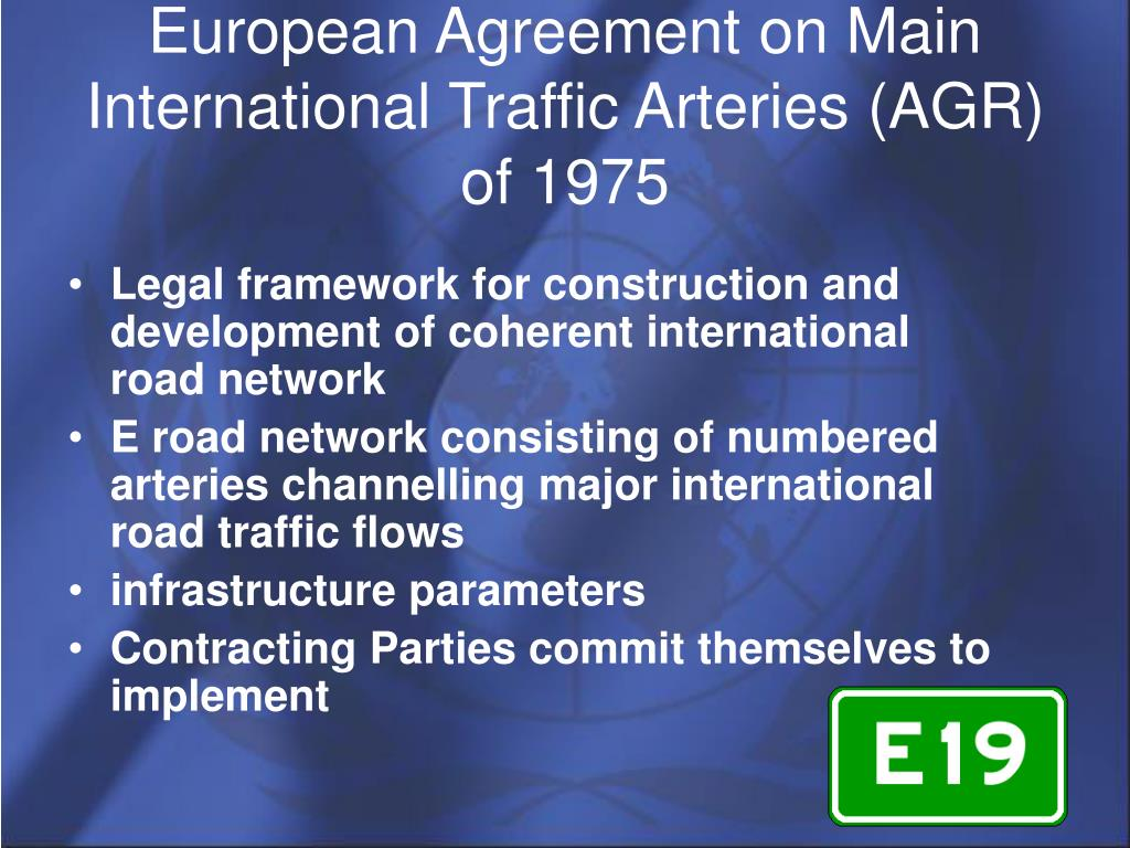 European Agreement on Main International Traffic Arteries (AGR) of 1975