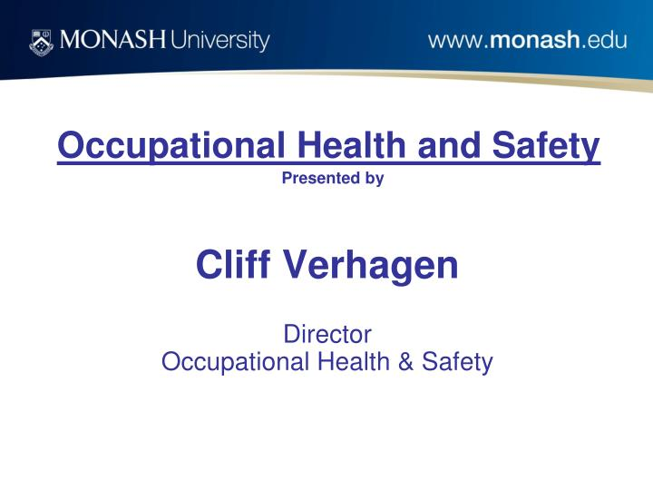 occupational health and safety presented by n.