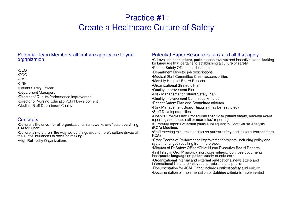 practice 1 create a healthcare culture of safety l.