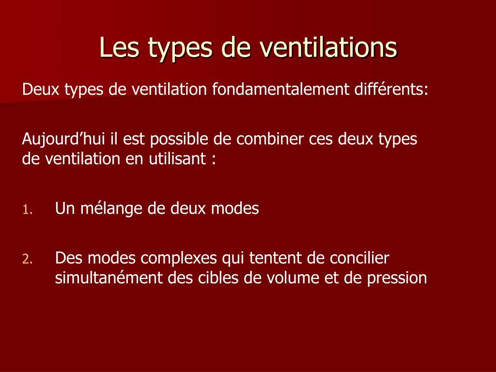Les types de ventilations