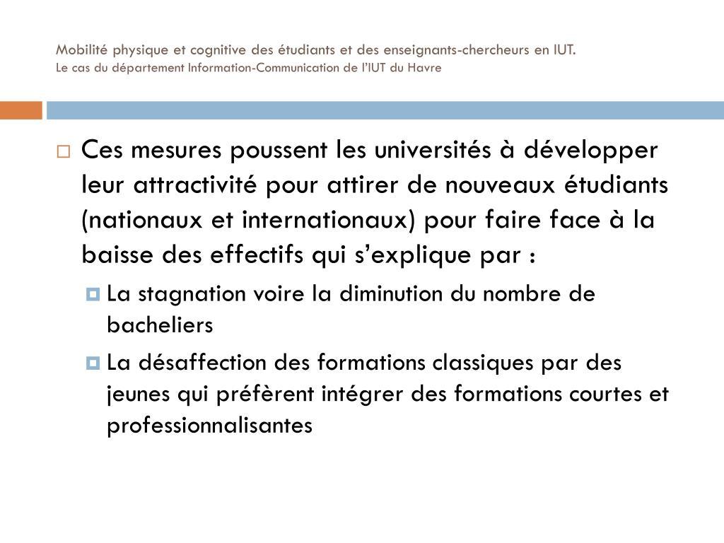 Mobilité physique et cognitive des étudiants et des enseignants-chercheurs en IUT.