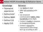 added hsops knowledge behavior items