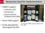 resources used for implementation