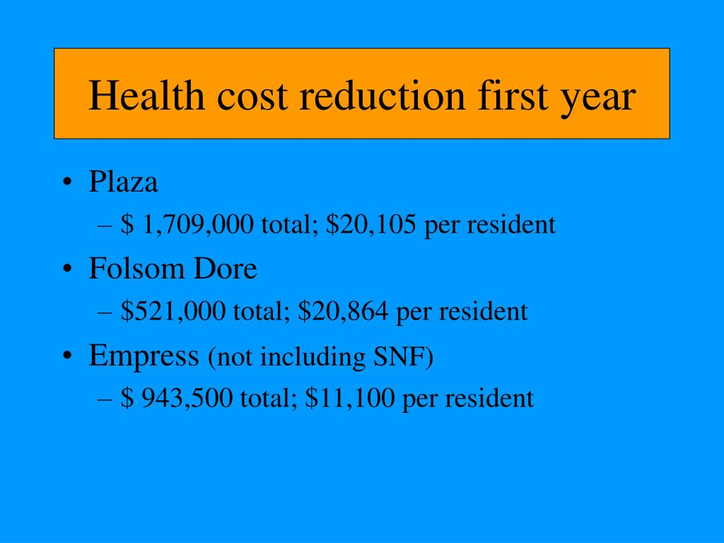 Health cost reduction first year