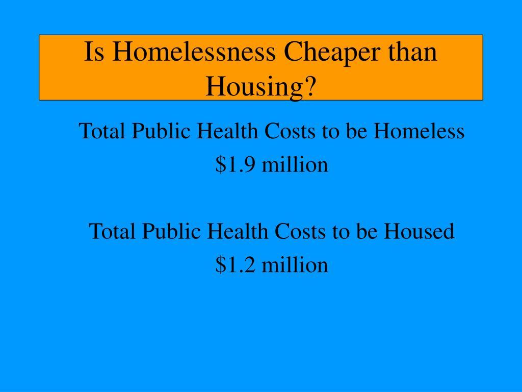 Is Homelessness Cheaper than Housing?