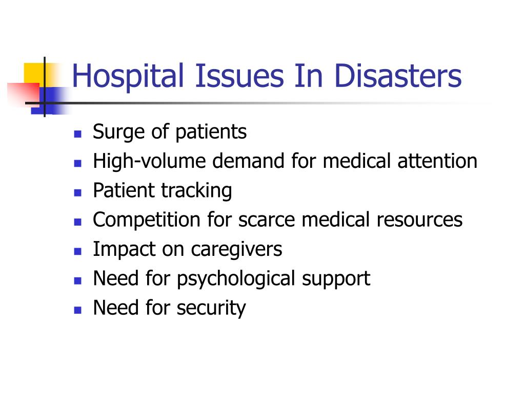 Hospital Issues In Disasters