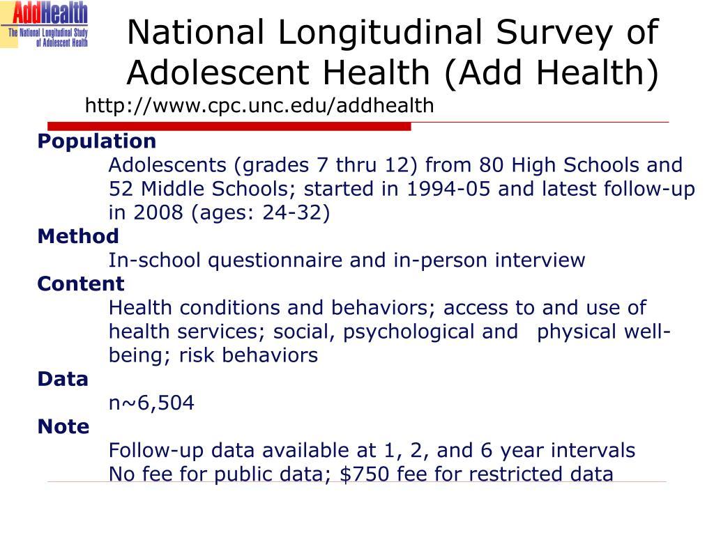 National Longitudinal Survey of Adolescent Health (Add Health)