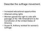 describe the suffrage movement