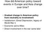 how did american policy toward events in europe and asia change over time