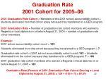 graduation rate 2001 cohort for 2005 06