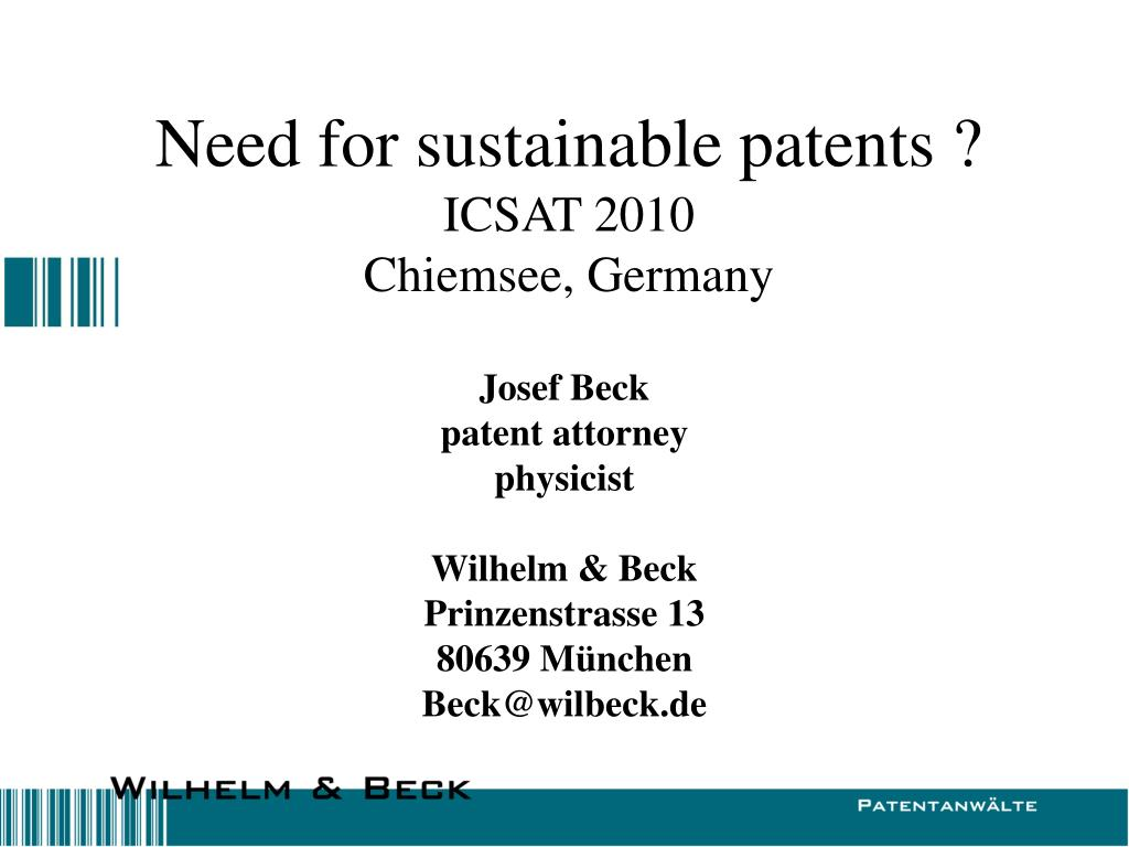 need for sustainable patents icsat 2010 chiemsee germany l.