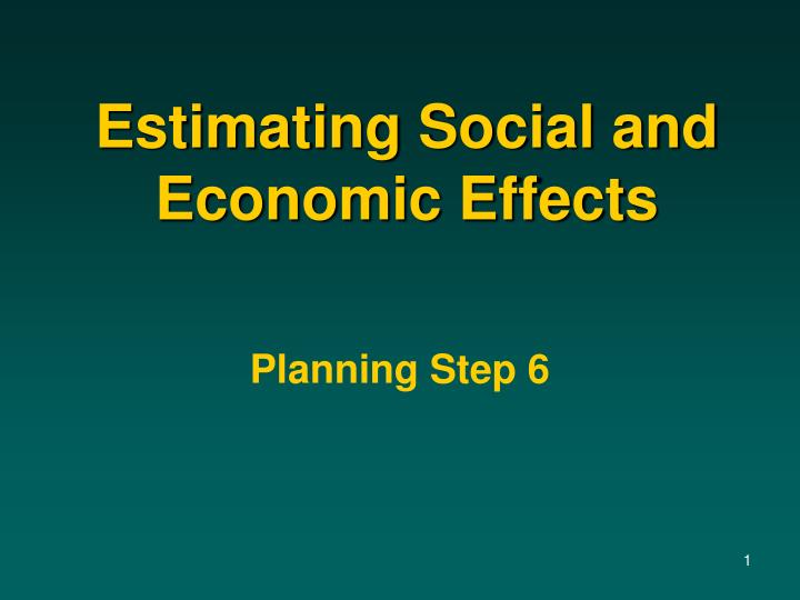 estimating social and economic effects n.