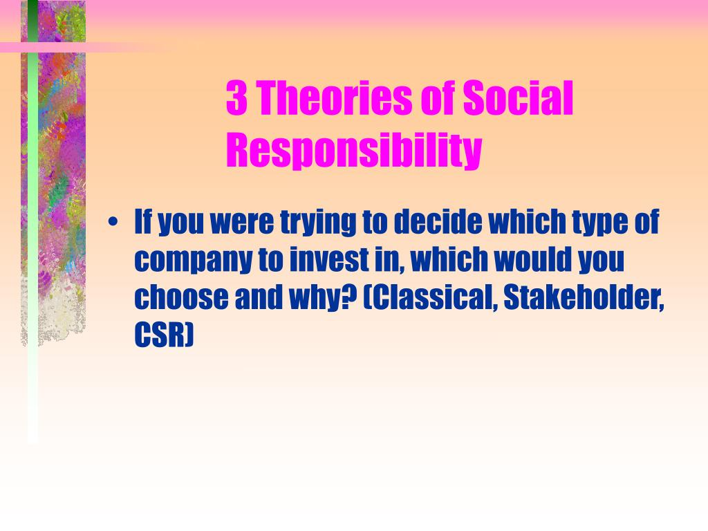 3 Theories of Social Responsibility