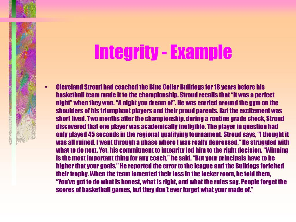 Integrity - Example