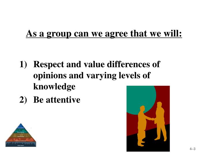 As a group can we agree that we will