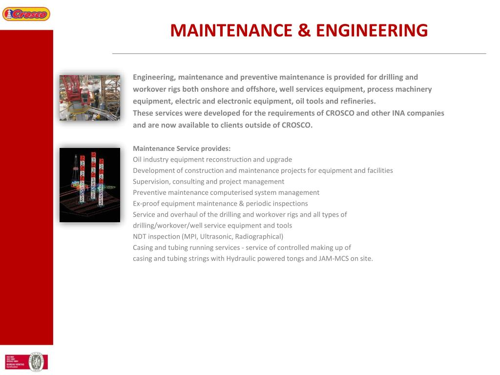 MAINTENANCE & ENGINEERING