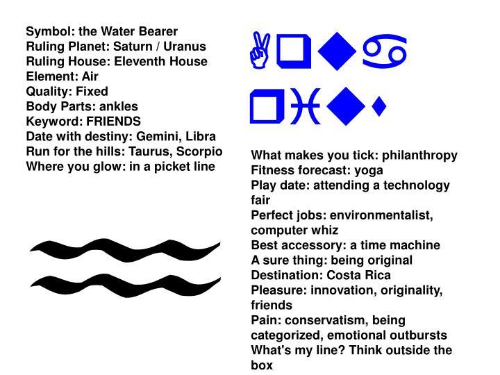 Symbol: the Water Bearer