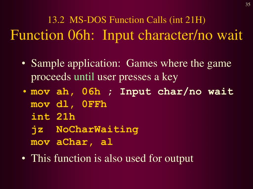 PPT - Chapter 13: 16- Bit MS-DOS Programming PowerPoint