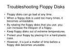 troubleshooting floppy disks