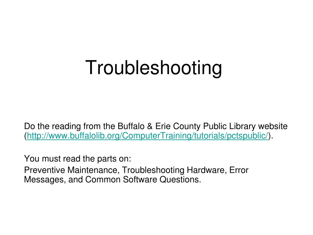 troubleshooting l.