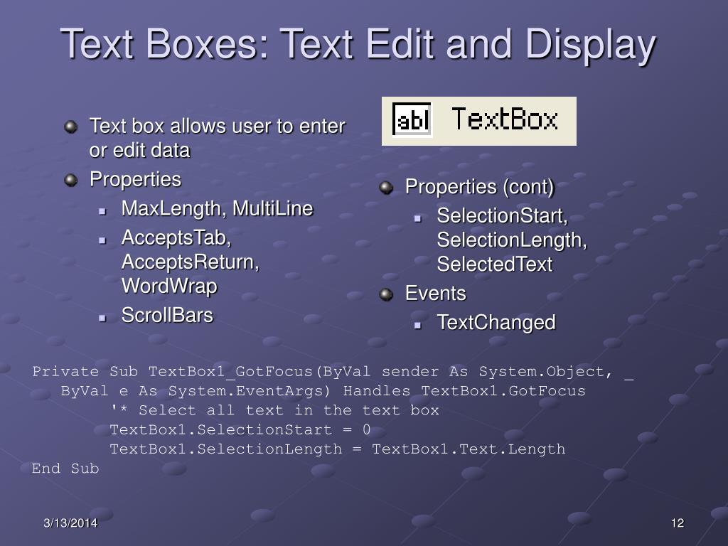 PPT - VB NET Controls PowerPoint Presentation - ID:454588
