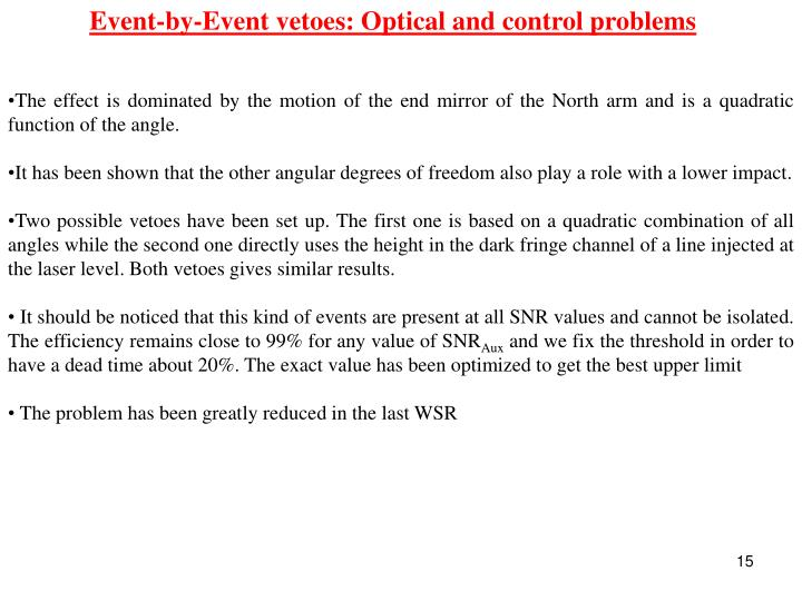 Event-by-Event vetoes: Optical and control problems