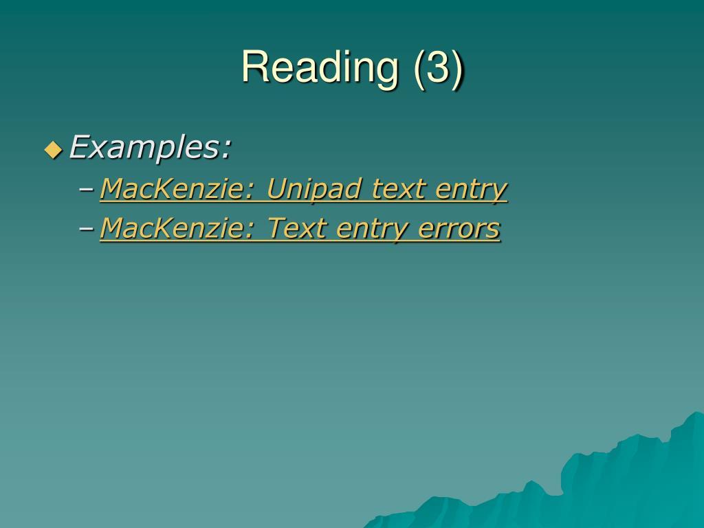 Reading (3)