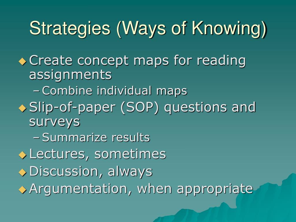 Strategies (Ways of Knowing)