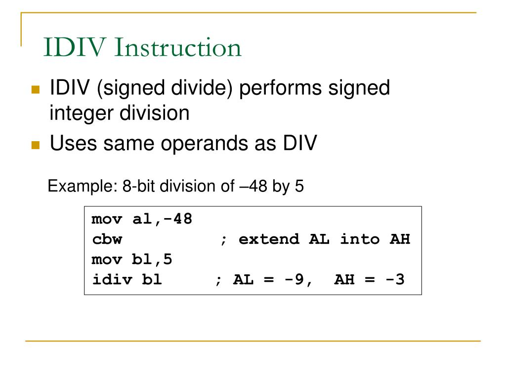 IDIV Instruction